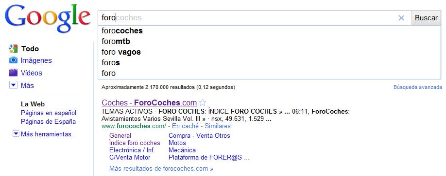 "Búsqueda ""foro"" en Google."
